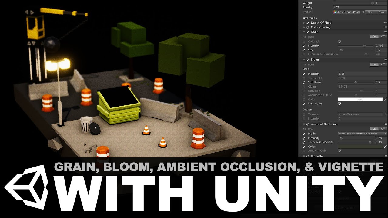 Unity3d post processing effects - Grain, Bloom, Ambient Occlusion, and Vignetting