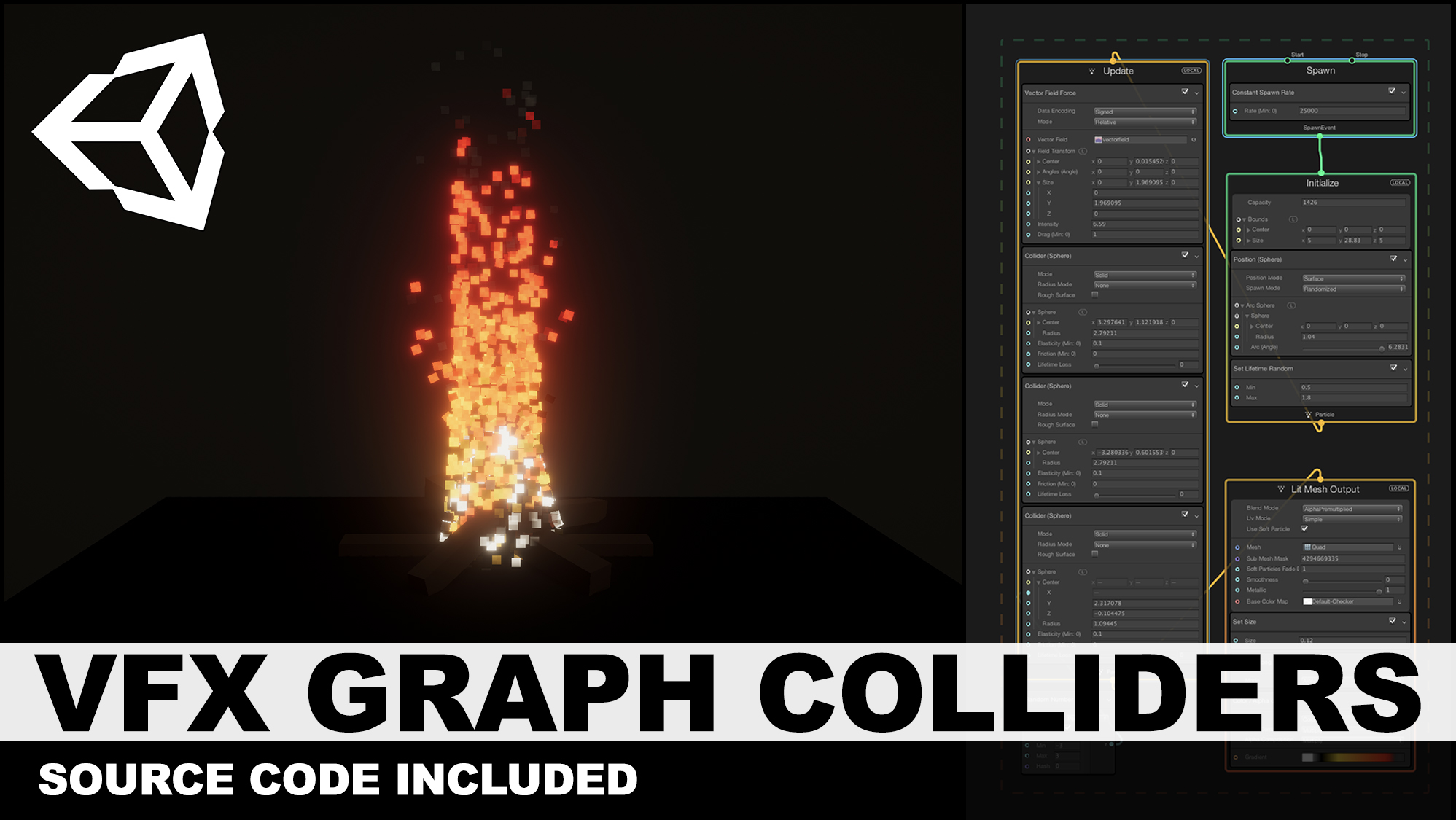 Unity3d VFX Graph Colliders with new VFX Scenes included such as Space, Fire, and Basic Scene