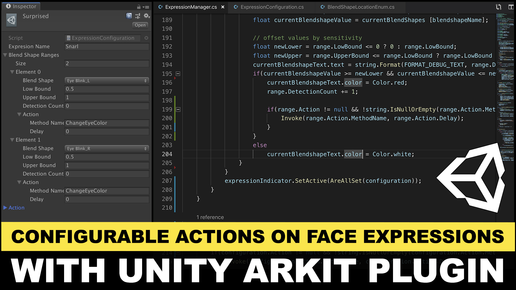 Unity3d ARKit Face Tracking and adding configurable actions post to detecting expressions