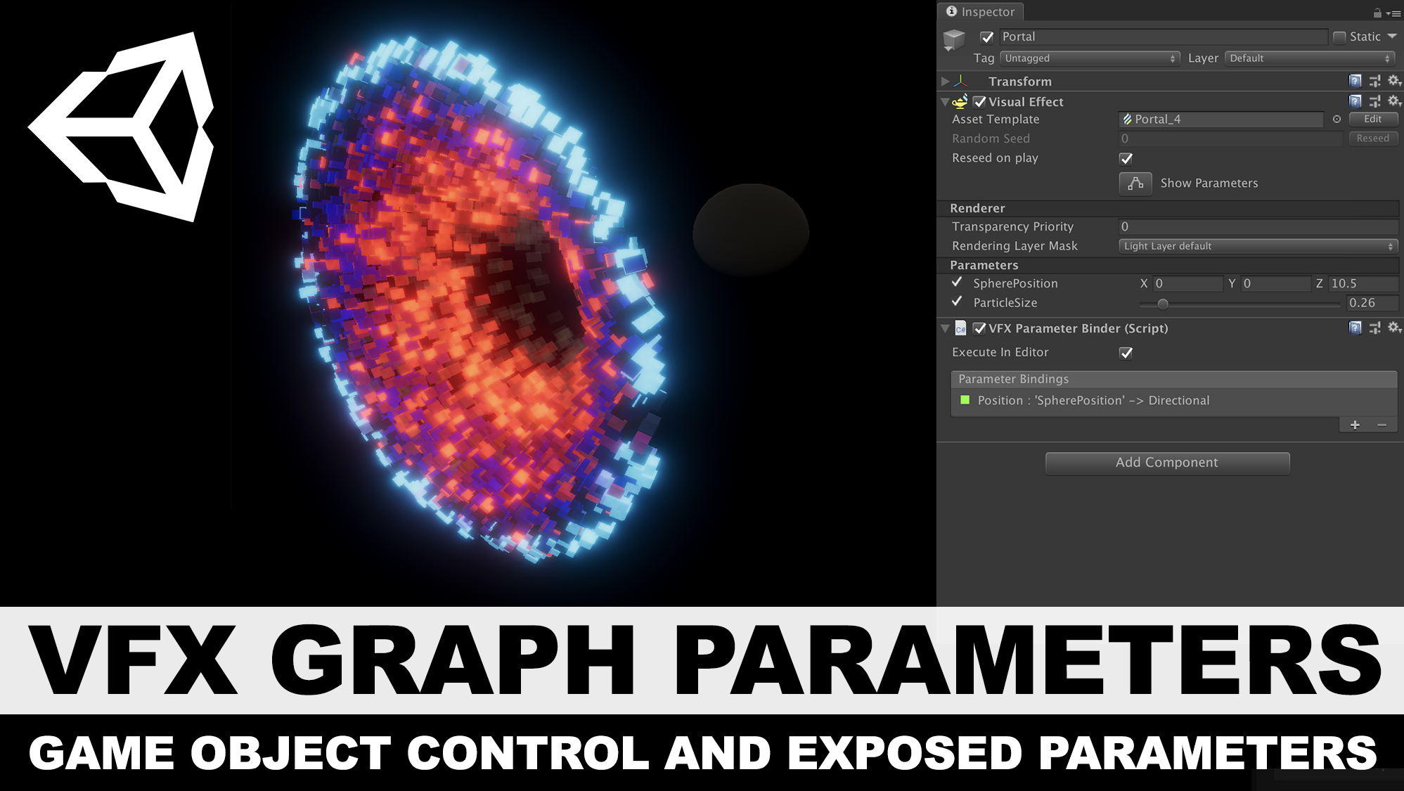 Unity3d VFX Graph Exposed Parameters and Game Object Bindings